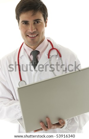 Doctor working on his laptop - stock photo