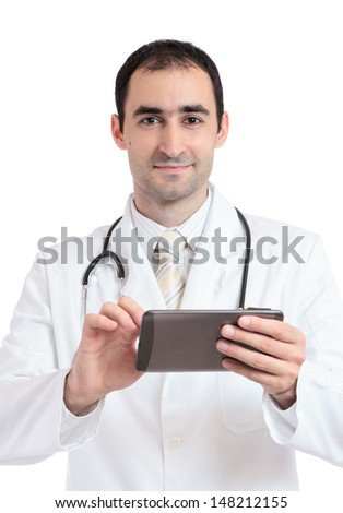 Doctor working on tablet pc at work. Isolated on white - stock photo