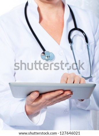 doctor working with  tablet, - stock photo