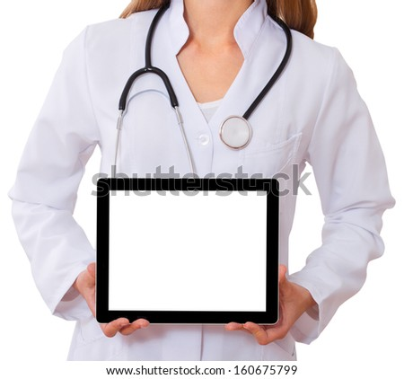 doctor working with tablet. isolated