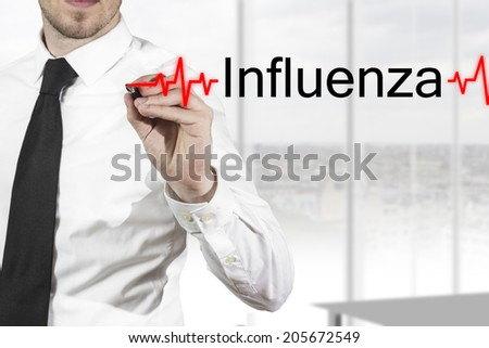 doctor writing influenza heartbeatline in the air - stock photo