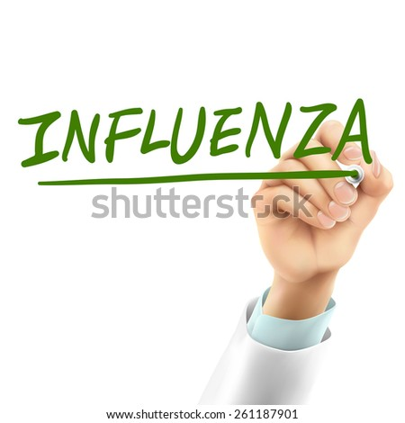 doctor writing influenza word in the air - stock photo