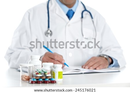 Doctor writing medical prescription. Health care Pharmaceutical background - stock photo