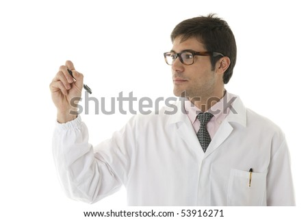 Doctor writing on copy-space - stock photo