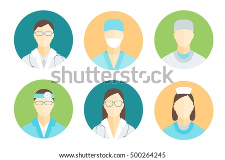 Doctors and Medical Staff in Circle Set for Emergency and Hospital. Flat Design Style. illustration