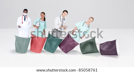 doctors and nurses in cups of coffee - stock photo
