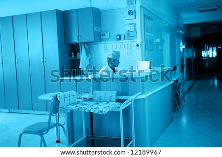Doctors are working - medicine  background. Shot in a hospital. - stock photo