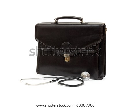 Doctors' case with stethoscope isolated on white background