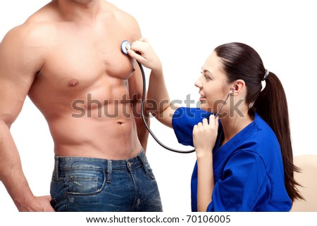 doctors in uniform stay on white isolated background - stock photo