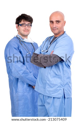 Doctors isolated against a white background - stock photo