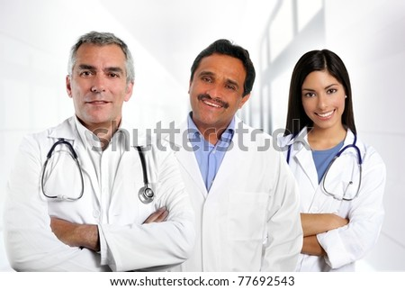 doctors multi ethnic expertise indian caucasian latin in hospital [Photo Illustration] - stock photo