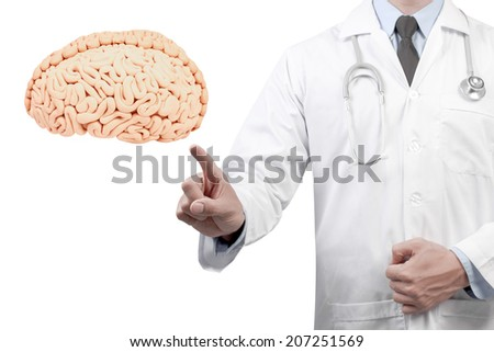 doctors pointing brain diagnosis concept for medical on white background  - stock photo