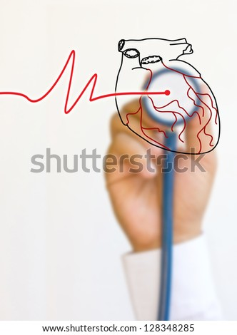 Doctors stethoscope and hands. - stock photo