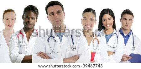 Doctors team group in a row on white background men and women doctor [Photo Illustration] - stock photo