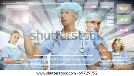 Doctors team in medical facilities with modern screen - stock photo