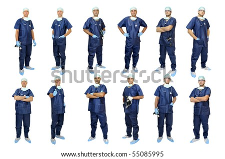 Doctors team in uniform posing isolated in white - stock photo