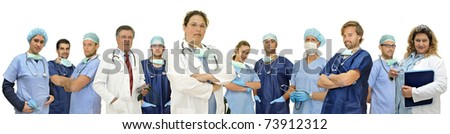 Doctors team isolated in white - stock photo