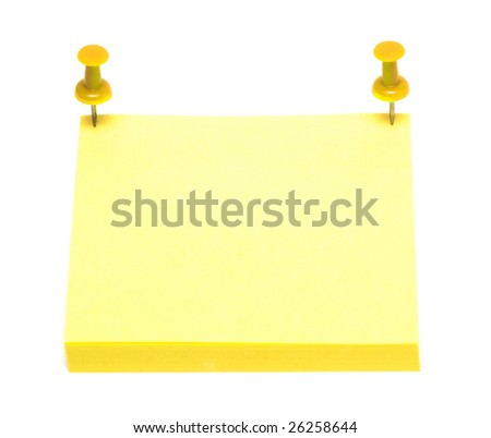 document clip/clamp and yellow pages of notebook on white - stock photo