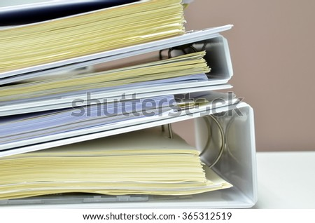 Document files on desk at workplace - stock photo
