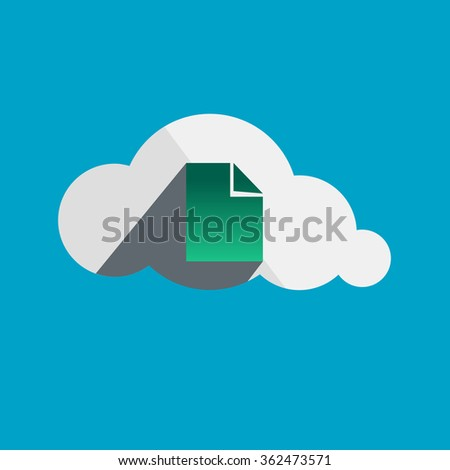 Document in Cloud flat design icon - stock photo