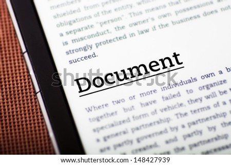 Document on tablet pc screen, ebook concept