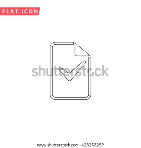 Document with check mark. Black outline simple pictogram on white. Line icon - stock photo