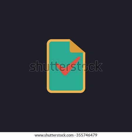 Document with check mark. Color flat icon on black background - stock photo