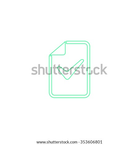 Document with check mark. Outline symbol on white background. Simple line icon - stock photo