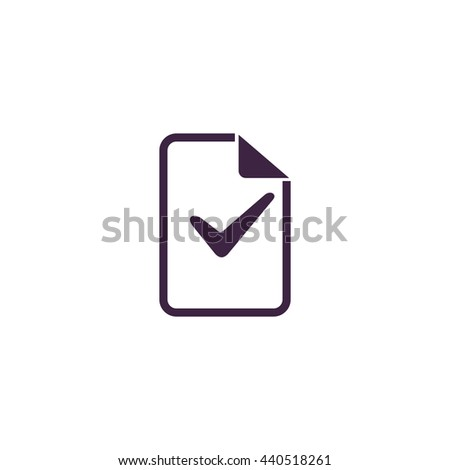 Document with check mark. Simple blue icon on white background - stock photo
