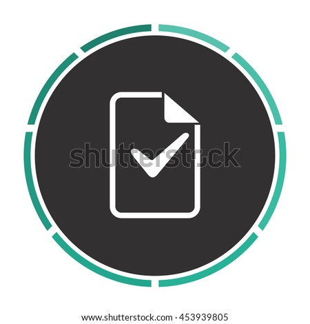 Document with check mark. White circle button on black background - stock photo