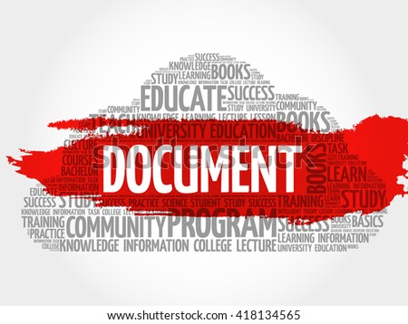 DOCUMENT word cloud, business concept - stock photo