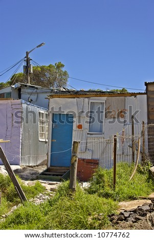 Documentary: Poor township close to Cape Town, South Africa - stock photo