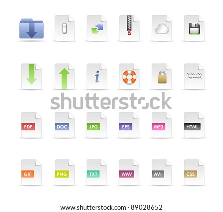 Documents and Folder Icon set - stock photo