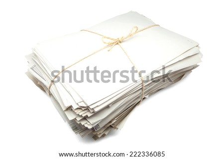 documents bound with a rope - stock photo