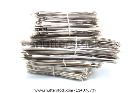 documents classified under bundles and tied with ropes - stock photo