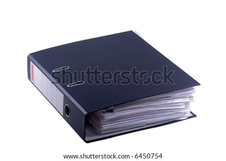 documents in black file binder on white background - stock photo