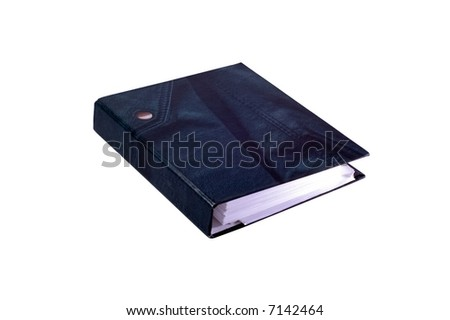 documents in file binder on white background - stock photo