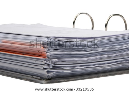 Documents in flip file isolated on white background - stock photo