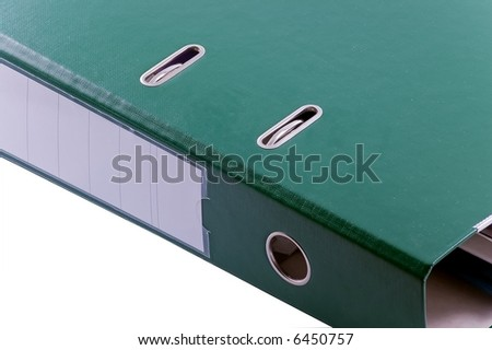 documents in green file binder on white background - stock photo