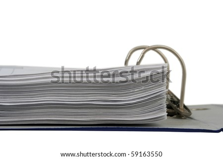 Documents in open flip file isolated on white - stock photo