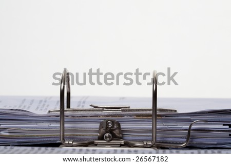 Documents Stacked in Lever Arch File - Isolated on White