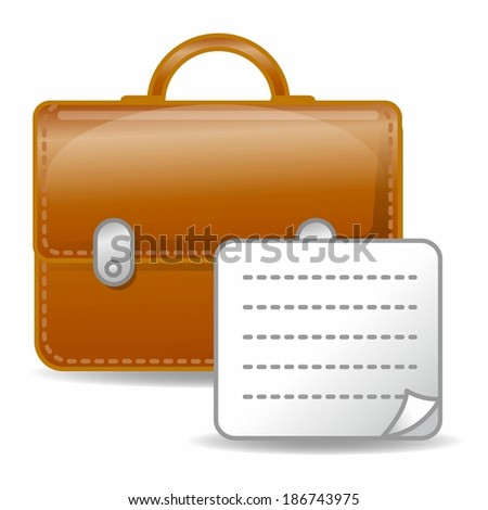 Documents with bag on white background