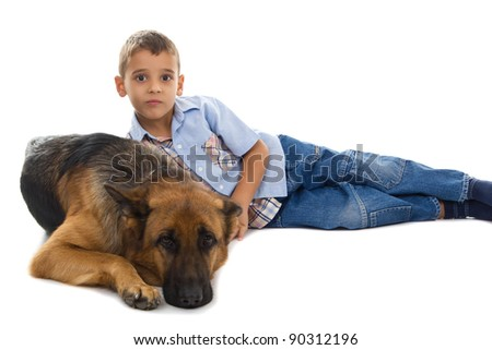 dog and boy tog together