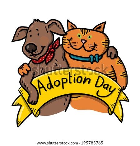 Dog and Cat For Adoption Illustration; Dog And Cat Rescue Shelter; Hugging pets - stock photo