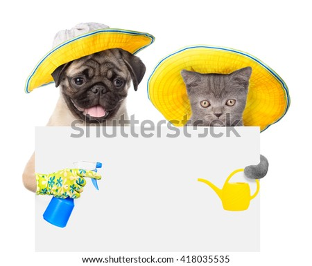 dog and cat with a tool for irrigation peek out from behind a banner - stock photo