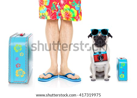 dog and owner on on summer holiday vacation  with bag and luggage - stock photo
