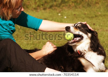 Dog and owner playing in the park - stock photo