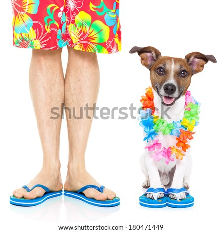 dog and owner ready to go on summer vacation - stock photo