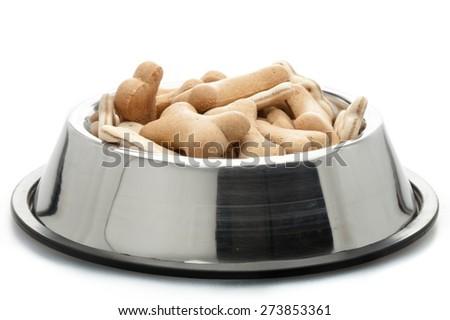 Dog Biscuit, Dog Bowl, Dog Food. - stock photo