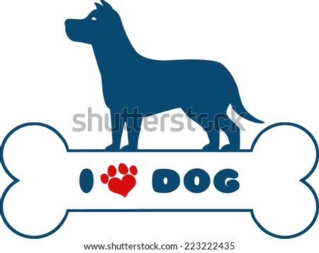 Dog Blue Silhouette Over Bone With Text And Red Love Paw Print Raster Illustration Isolated On White Background - stock photo